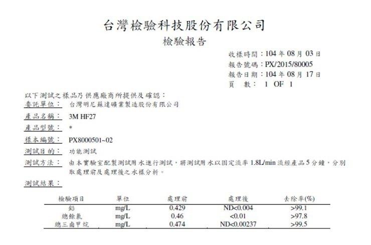 3M HF27 洗滌清潔淨水系統-檢驗報告