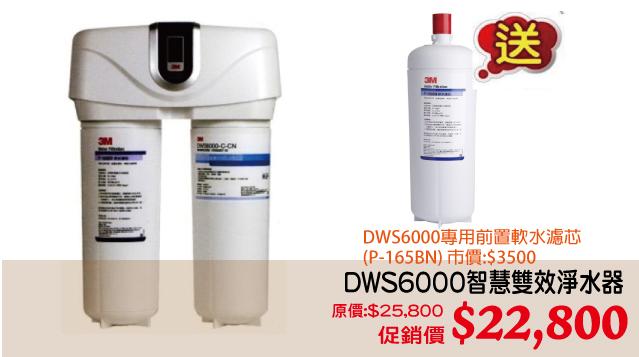 3M DWS6000智慧雙效淨水器  原價:$25,800 促銷價 $22,800贈送:P165BN軟水濾芯1支(市價:$3,500)