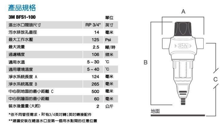 3M反洗式淨水系統BFS1-100